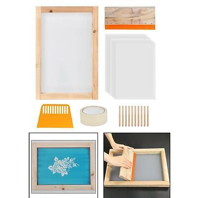 24x Screen Printing Starter Kit Wood Silk Screen Frame Mesh Printing W Squeegee