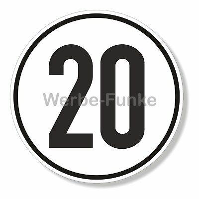1 Schild 20 kmh Geschwindigkeit, 20cm Aluminium-Verbundplatte  2mm