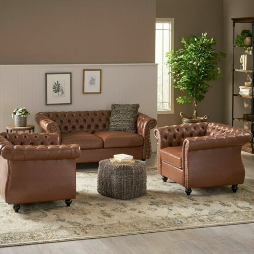 Madelena Traditional Chesterfield Loveseat and Club Chair Set Furniture