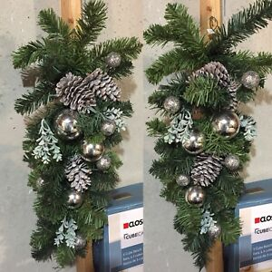 2 pcs hanging pine garlands with silver decor