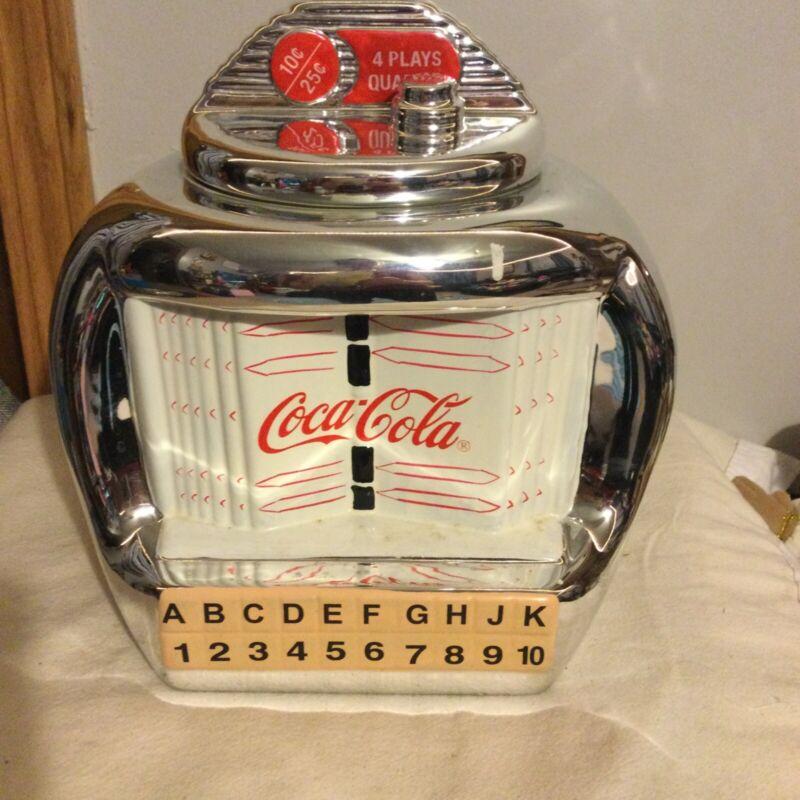 """Vintage 10"""" Ceramic Coca Cola Brand Jukebox Cookie Jar By Gibson"""