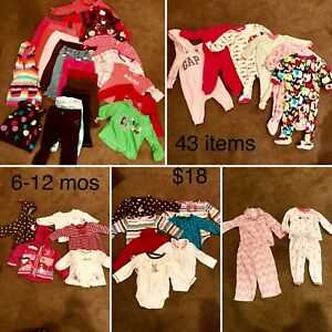 6-12 mos toddler girls clothes (43 items)