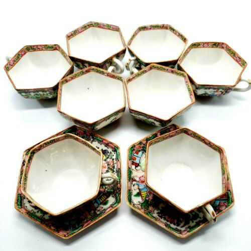 Set of 8 Antique Rose Medallion Hexagonal Tea Cups & 2 Saucers Turn of Century