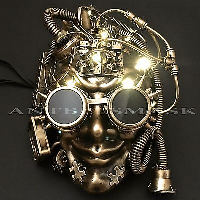 Gold LED Light Up Flashing Full Face Halloween Steampunk Mask - Masquerade Halloween Face