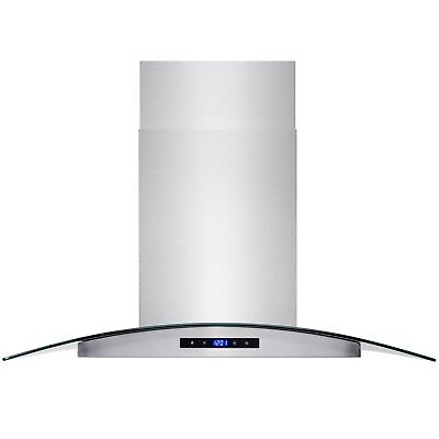 """36"""" Stainless Steel Island Mount Range Hood with Tempered Glass Touch Panel"""