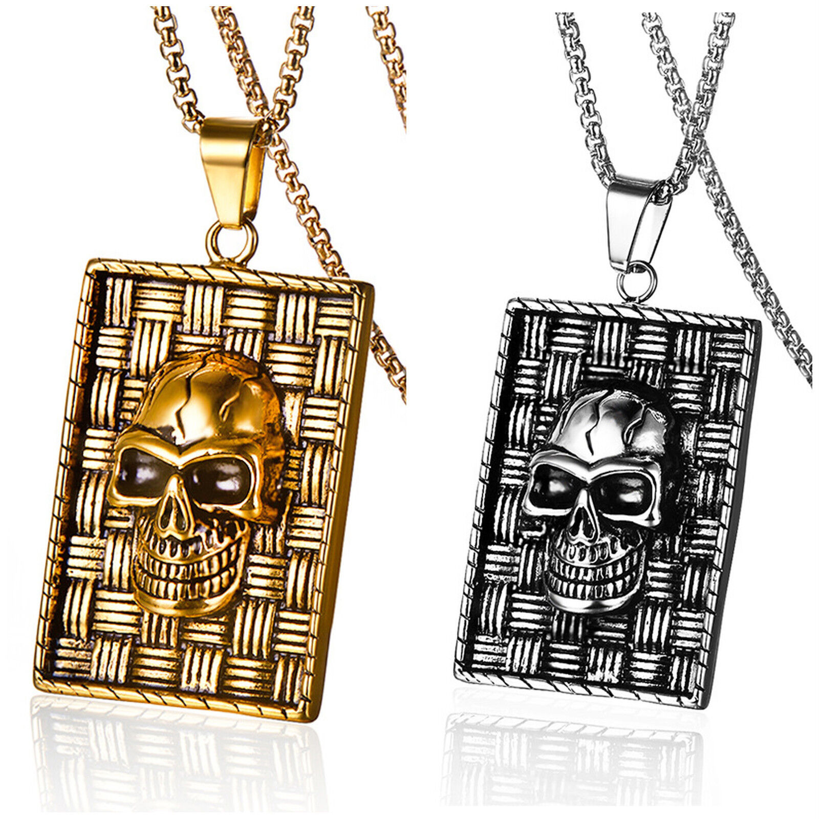 Men's Stainless Steel Large and Heavy Gothic Skull Biker Pendant Necklace Chains, Necklaces & Pendants