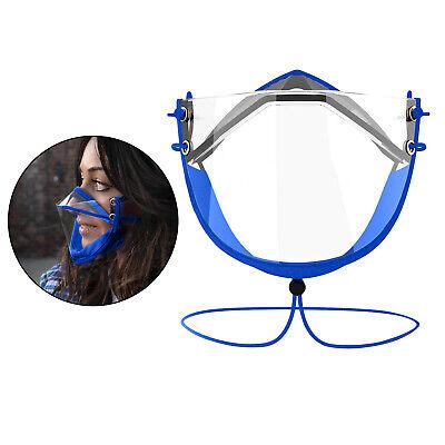 Klare Transparente Gesichtsschutzmaske Anti-Fog-Gesichtsbedeckung Blau