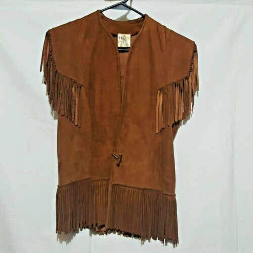Womens Brown Suede Leather Fringe Vest Vintage Size 14 Motorcycle Hippy Boho