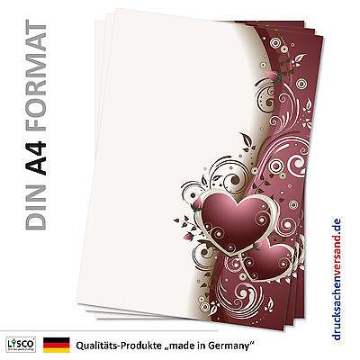 Motivpapier Briefpapier (Blumen-5088 DIN A4 25 Blatt) schön rote Ranken Herzen