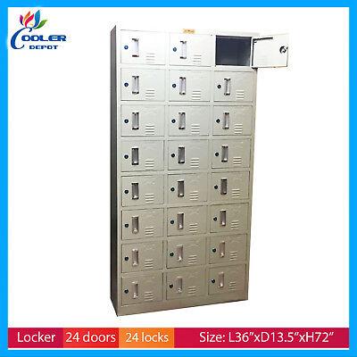 Locker Storage 24 Door Steel Cabinet 36 X 13.5 X 72 - Lockable Cooler Depot