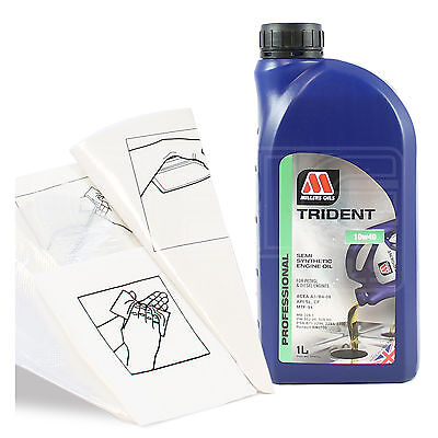 Engine Oil Top Up 1 LITRE Millers TRIDENT 10w 40 1L GlovesWipesFunnel