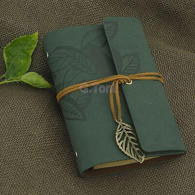 Personalized Portable Leaves Leather Travel Notebook Refillable Sketchbook Green