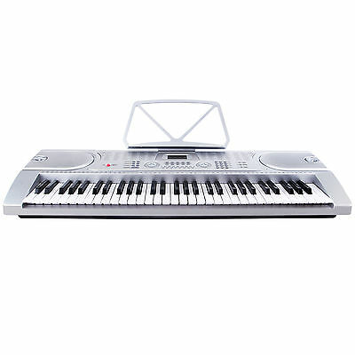 Mecor Silver 61 Key Music Electronic Keyboard Digital Piano Organ w/Microphone