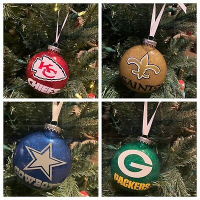 Handmade Football NFL Glitter Christmas Ornaments - Football Christmas Ornaments