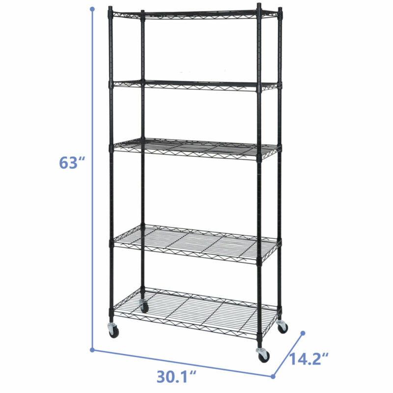 5-Tier Storage Shelf Rack Wire Unit Shelves for Home Office with Wheel Caster