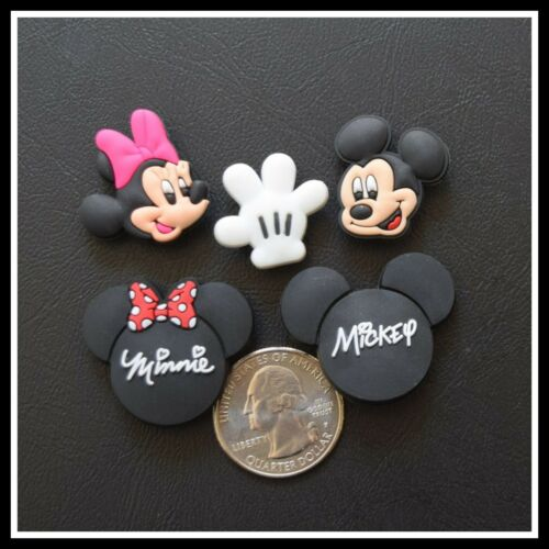 SET of 5 Shoe Charms for Crocs Disney World MICKEY MINNIE Faces Autographed Ears