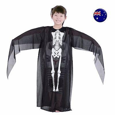 Boy Girl Kids Halloween Black Skeleton Bone Skull Costume Tops Gown Cover Cape
