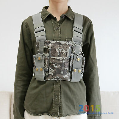 Camouflage Chest Harness Bag Pack Pouch Holster Vest Rig For Radio