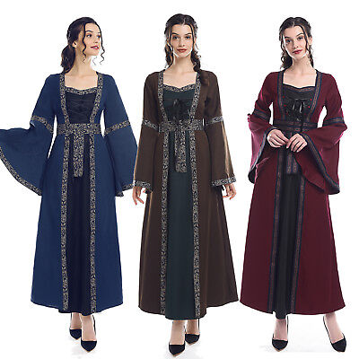 Women Medieval Renaissance Dress Celtic Bell Sleeve Gown Costume Maid Marion