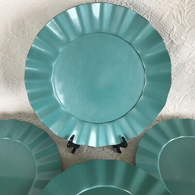 """Set 4 MIKASA  Elegance Turquoise Blue Green Ruffled Charger Service Plates 13""""  ()"""