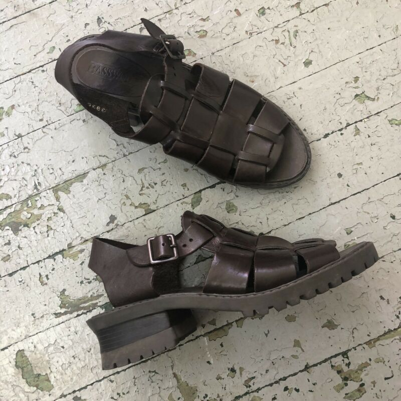 Vintage 90's Brown Leather Platform Chunky Sandals, 7.5