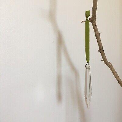 nicolettavintage Vintage Chandelier Drop Olive Green 100% Silk Ribbon Decoration