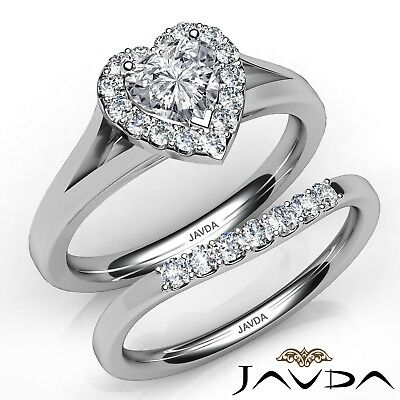 1.62ctw Pave Halo Bridal Set Heart Diamond Engagement Ring GIA G-SI2 White Gold