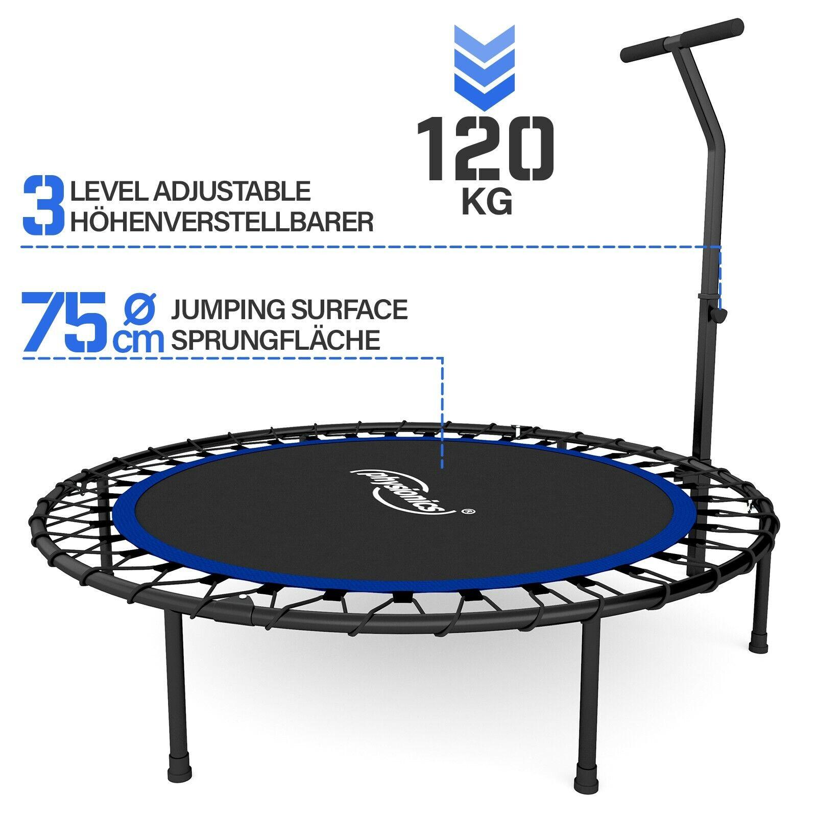 Physionics® Fitness Trampolin Faltbar Indoor/Outdoor Sport Minitrampolin Jumping