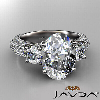 Women's 3 Stone Pave Set Oval Cut Diamond Engagement Ring GIA F Color VS2 3.8Ct 1