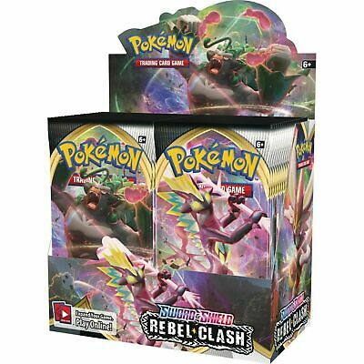 Pokemon SWORD AND SHIELD REBEL CLASH BOX FACTORY SEALED (36 packs) SHIPS BY 5-1