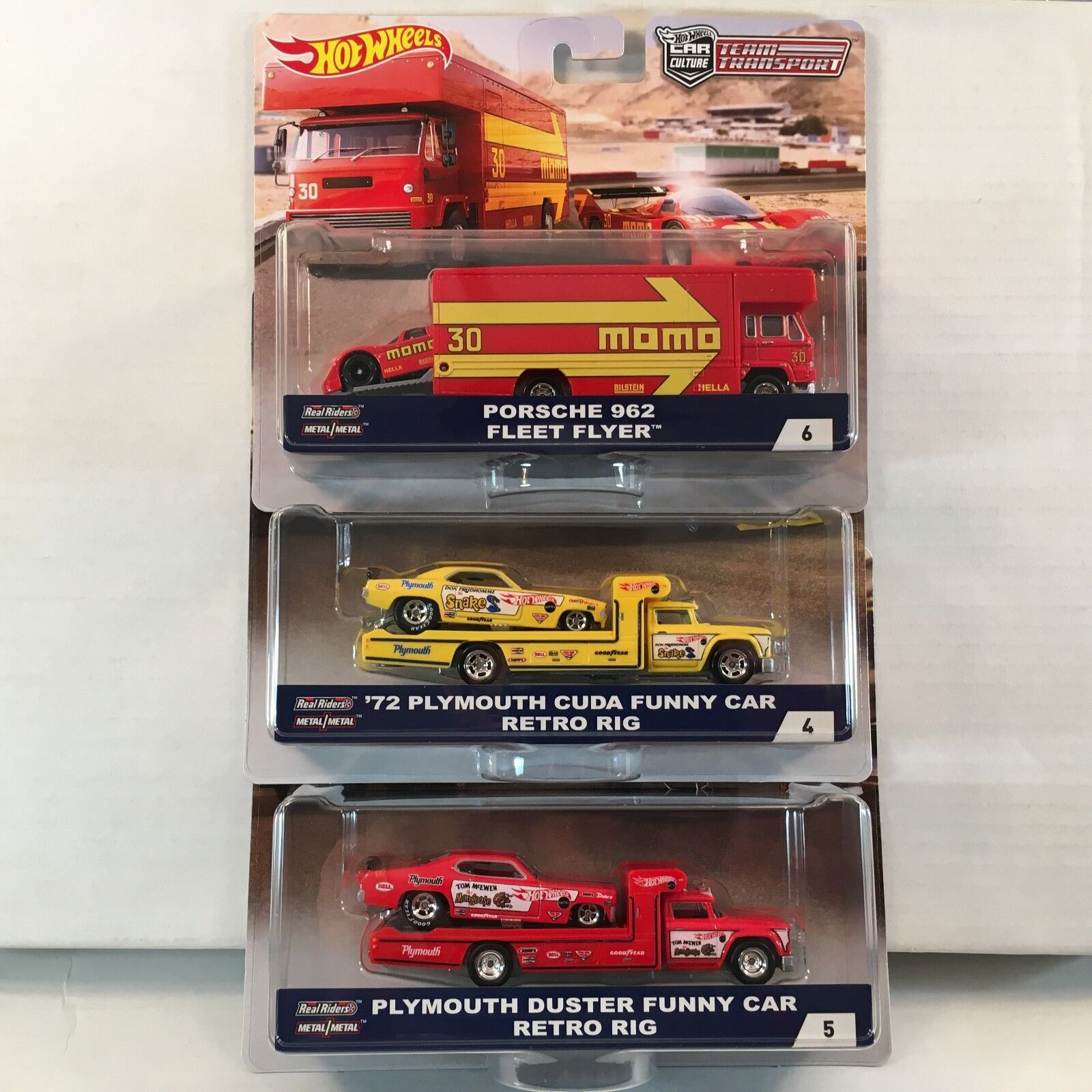 3 Car Set * Case B TEAM TRANSPORT * 2018 Hot Wheels Snake, Mongose & Porsche