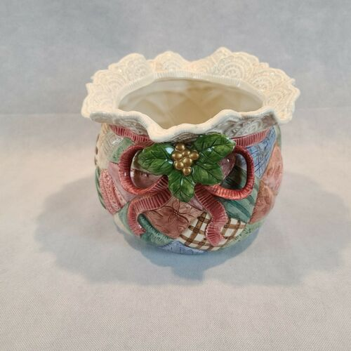 VTG Fitz And Floyd Christmas Quilt Cache Large Pot Bowl Retired 1992 19/873