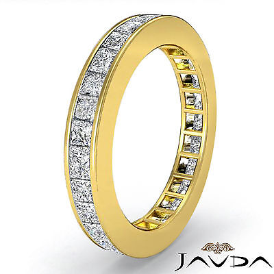 3mm Women Eternity Band Princess Channel Set Diamond Ring 18k Yellow Gold 1.50Ct (3mm Channel Diamond Eternity Ring)