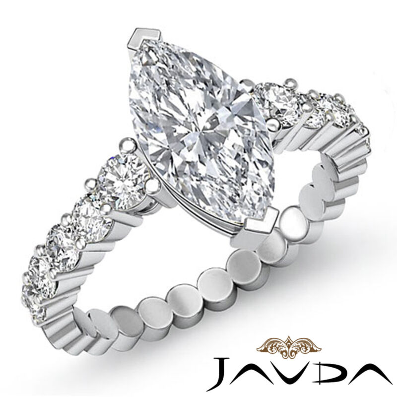 Marquise Cut Prong Setting Diamond Engagement White Gold Ring Gia G Vs2 1.7 Ct