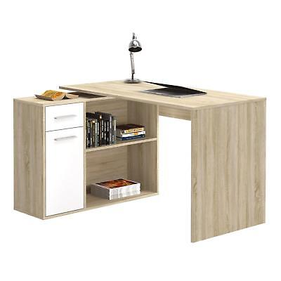 Schreibtisch Eckschreibtisch Kinderschreibtisch mit Regal Sonoma Eiche/weiß ()