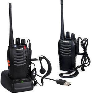 2x Baofeng Walkie Talkie Long Range 2 way Radio UHF 400-470MHZ 16CH Earpiece UK