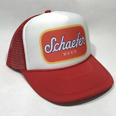 Schaefer Beer Trucker Hat Mesh Vintage Brewery Snapback Party Cap Red - Red Party Hat