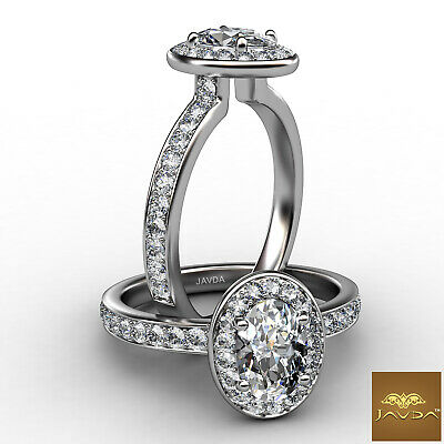 Halo Pave Set Oval Diamond Engagement Cathedral Ring GIA Certified F VVS1 0.95Ct