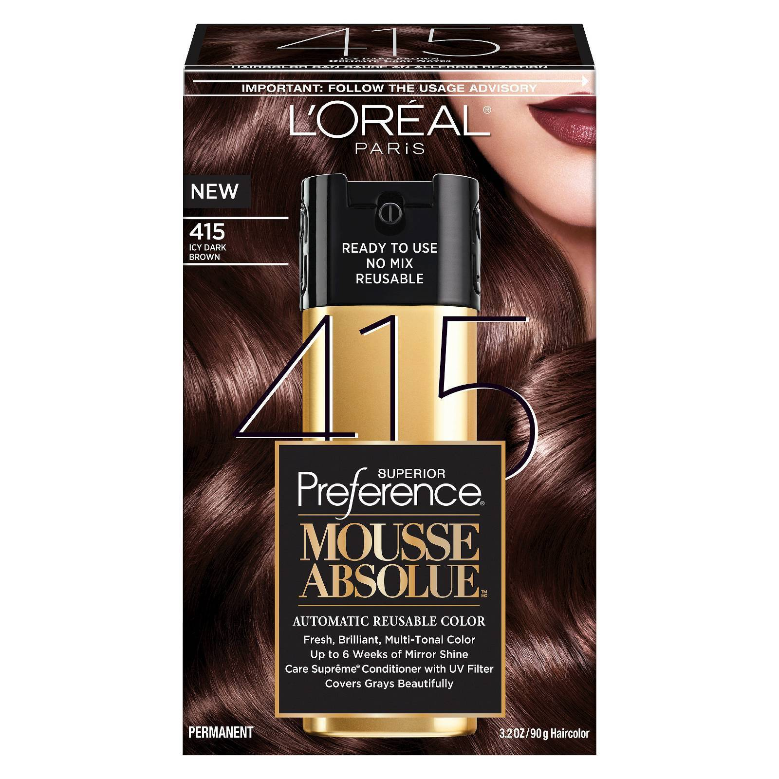 4x L\'oreal Superior Preference Mousse Absolue 415 Icy Dark Brown ...