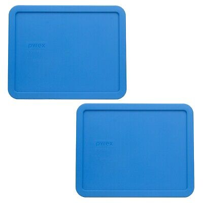 Pyrex 7212-PC Marine Blue Rectangle Food Storage Replacement Lid Cover (2-Pack) Blue Food Storage