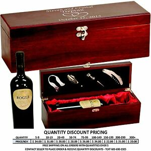 Rosewood Wine Box with Custom Engraved Lid Personalized Wedding Anniversary Gift