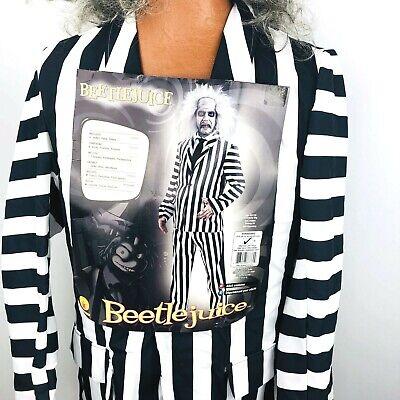 Beetlejuice Costume Mens Ghost Adult Deluxe Large Gray Wig Stripe Suit - Beetlejuice Deluxe Adult Kostüm