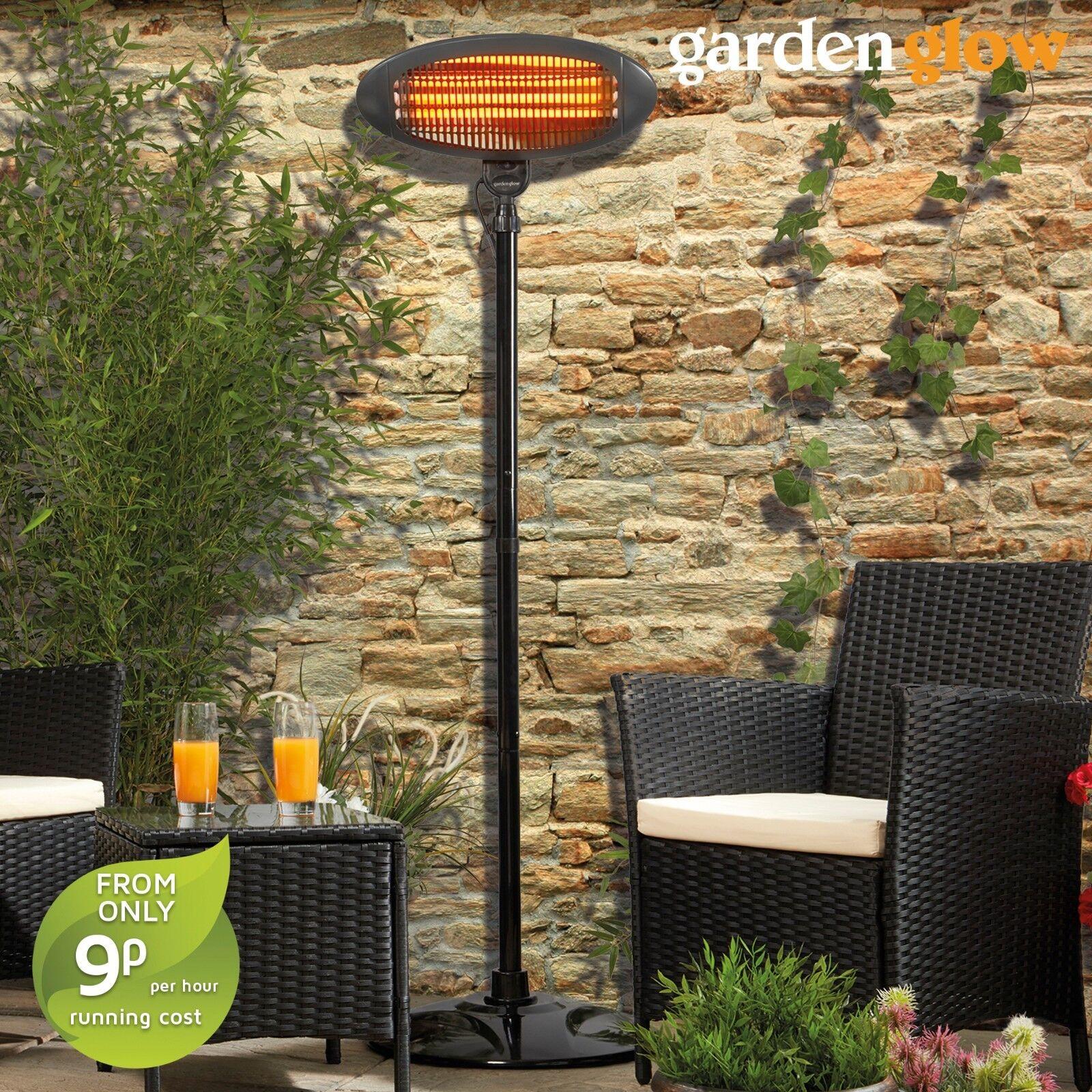 Garden Glow Patio Heater Outdoor Electric Fire Freestanding 2kw Quartz Graphite 5017730946886 Ebay