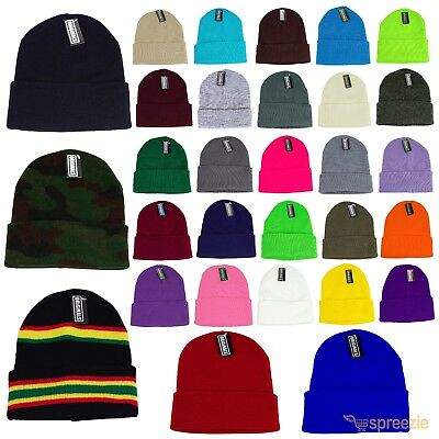 Beanie Plain Knit Ski Hat Skull Cap Cuff Warm Winter Blank Colors Unisex Beany ()