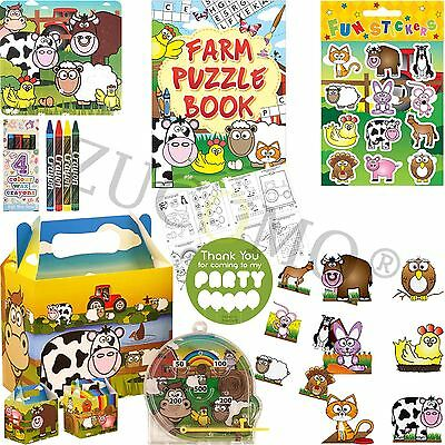 Farm Themed Birthday Supplies (Boys Girls Filled Party Boxes Themed Kids Farm Animals Party Supplies Ready)