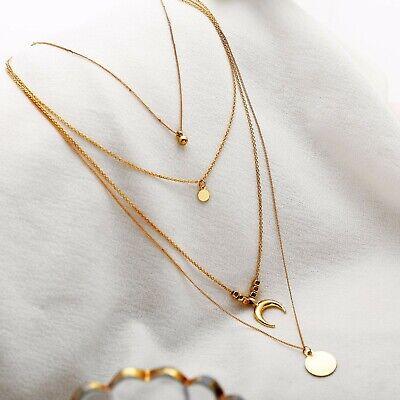 Halskette Frauen Halsketten Set 4 Gold Ketten Damen Halsband Gliederkette Frau (Gold Ketten Frau)