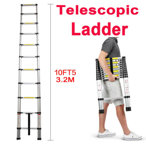 Heavy Duty 10.5FT Aluminium Telescoping Ladders Extend Exten