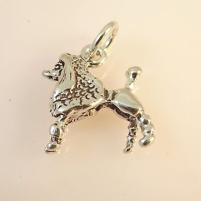 .925 Sterling Silver 3-D POODLE CHARM NEW Groomed Dog Pendant 925 -