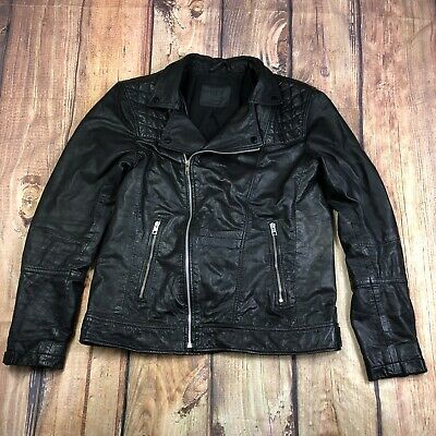 All Saints Leather Motorcycle Jacket Men Size Large 100% Leather Jacket No Flaws