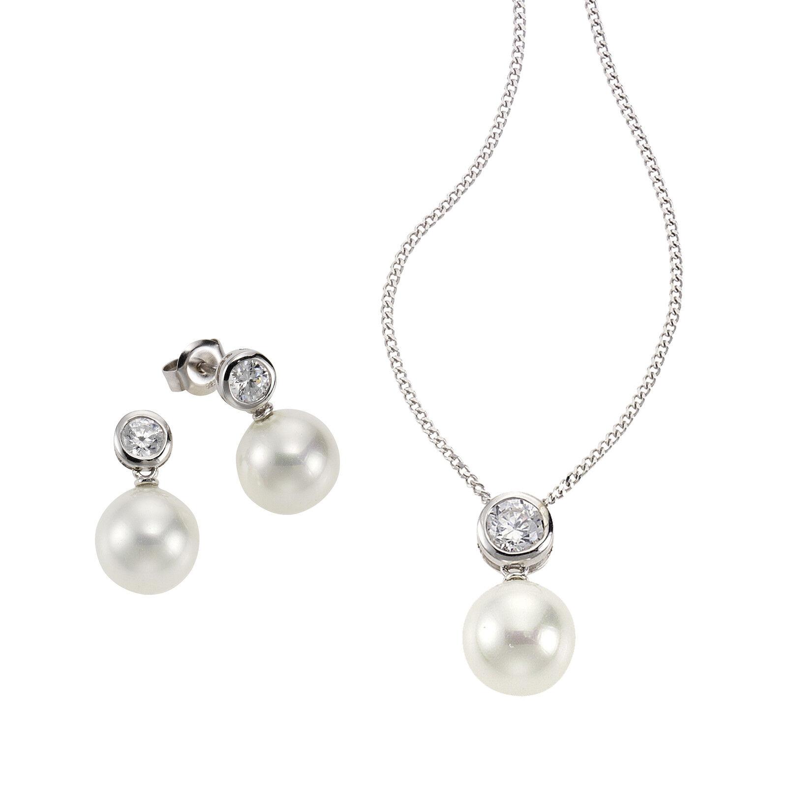 Celesta Set 925 Sterling Silber Zirkonia Perle Ohrring Stecker Kette Anhänger